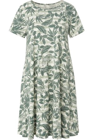 Green Cotton Dames Geprinte jurken - Jerseyjurk 100% katoen animal-bladerprint Van