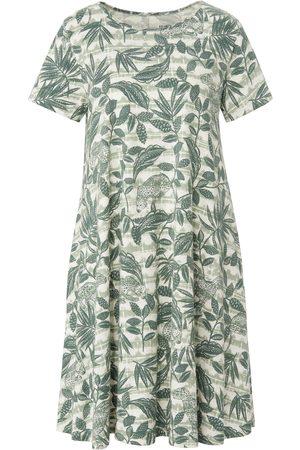 Green Cotton Dames Geprinte jurken - Jerseyjurk van 100% katoen animal-bladerprint