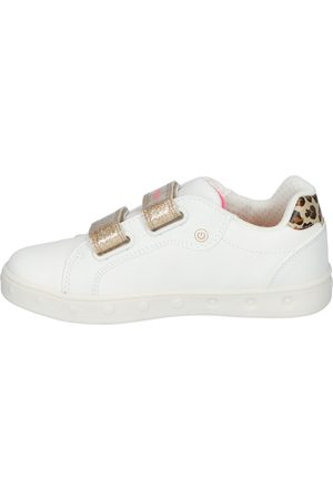 Geox Meisjes Sneakers - Skylin Girl White/Fluo Fuchsia Klittenbandschoenen