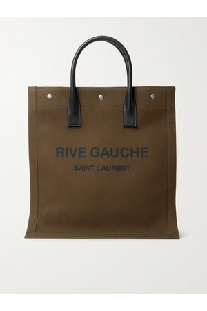 Saint Laurent Heren Shoppers - Noe Leather-Trimmed Logo-Print Canvas Tote Bag