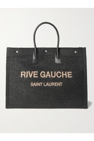 Saint Laurent Heren Shoppers - Large Logo-Embroidered Leather-Trimmed Canvas Tote Bag