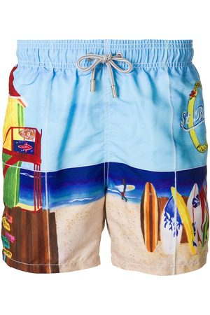 MC2 SAINT BARTH Beach scene swim trunks