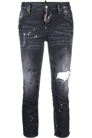 Dsquared2 Paint-splatter cropped jeans