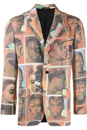 Moschino 1980's faces printed blazer