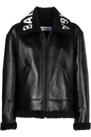 Balenciaga Logo-collar zip-up shearling jacket