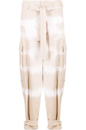 Stella McCartney Tie-dye belted tapered jeans