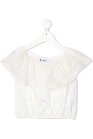 Dondup Meisjes Blouses - Lace embroidered ruffle top
