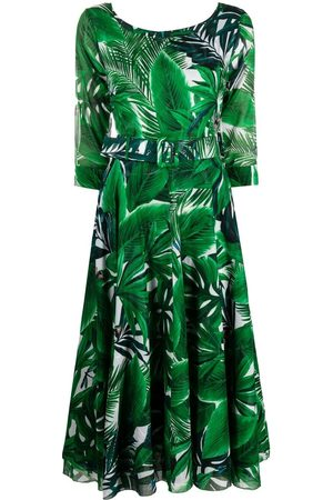 SAMANTHA SUNG Leaf print midi dress