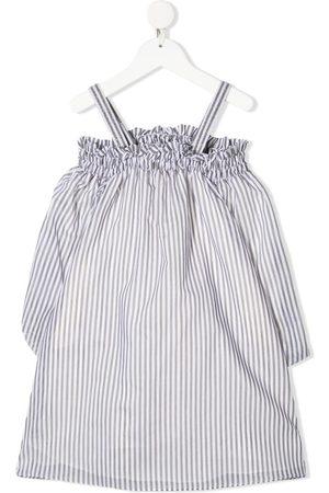 Brunello Cucinelli Striped off-shoulder midi dress