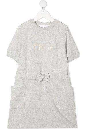 Chloé Embroidered-logo drawstring-waist dress