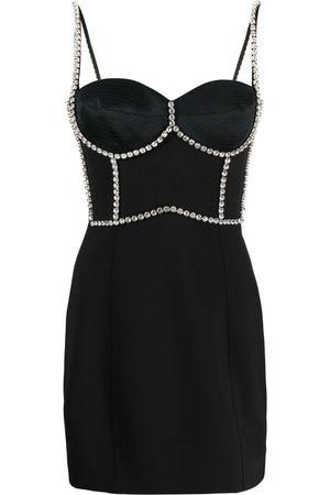 AREA Embellished bodice mini dress
