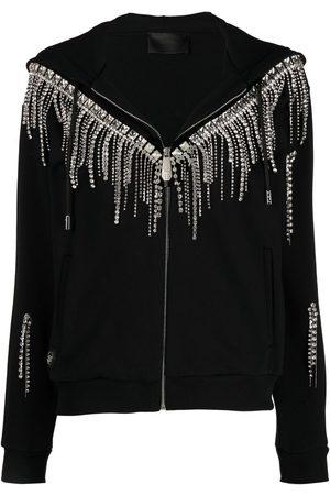 Philipp Plein Crystal-fringe hooded zip-up