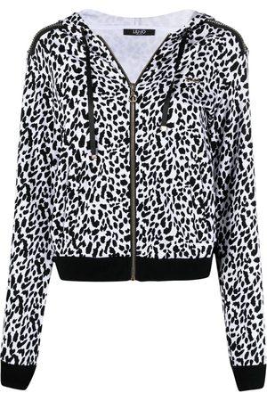 Liu Jo Dames Hoodies - Leopard-print zipped hoodie