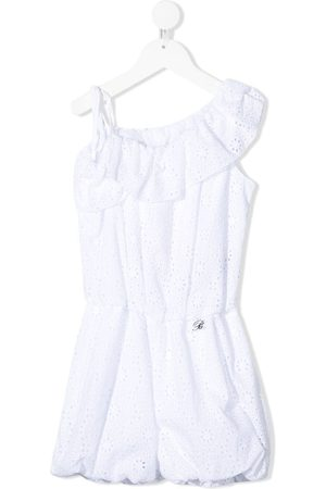 MISS BLUMARINE Cotton broderie anglaise playsuit