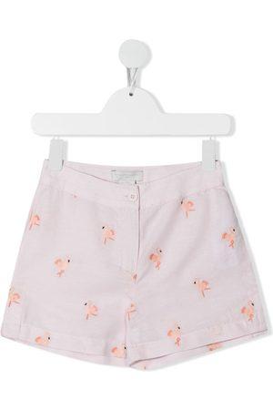Stella McCartney Flamingo-embroidered shorts