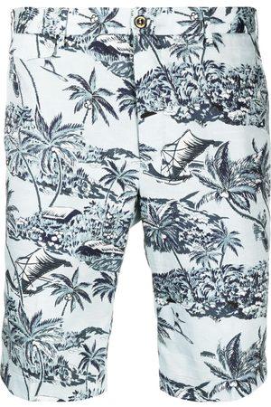 PT01 Palm-tree print cotton shorts