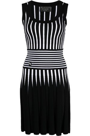 Philipp Plein Stripe-print knitted short dress