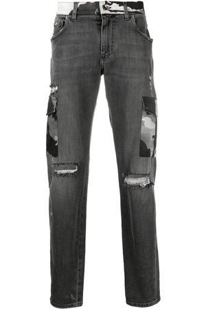 Dolce & Gabbana Heren Bootcut - Ripped camouflage-detail bootcut jeans