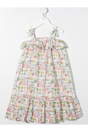 BONPOINT Mix beach print flared dress