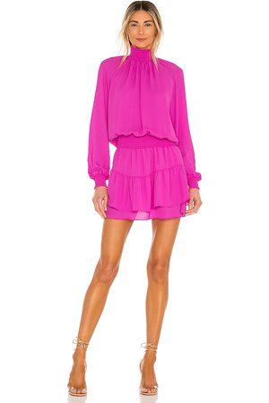 krisa Turtleneck Ruffle Skirt Dress in