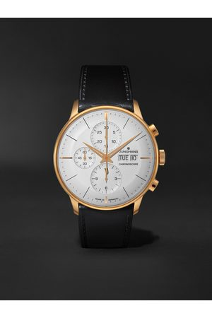 Junghans Heren Horloges - Meister Chronoscope Automatic 41mm PVD-Coated Stainless Steel and Leather Watch, Ref. No. 027/7023.01