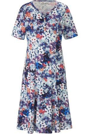 Green Cotton Dames Geprinte jurken - Jerseyjurk van 100% katoen bloemenprint