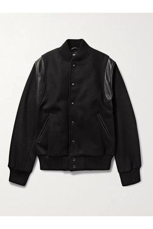 Golden Bear Heren Wollen jassen - The Hayes Leather-Panelled Wool-Blend Bomber Jacket