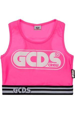 GCDS Meisjes Crop Top - Jersey Stretch Crop Tank Top