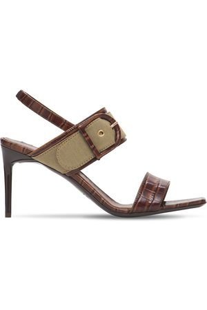 Max Mara Dames Clogs - 80mm Scilla Croc Embossed Leather Sandal