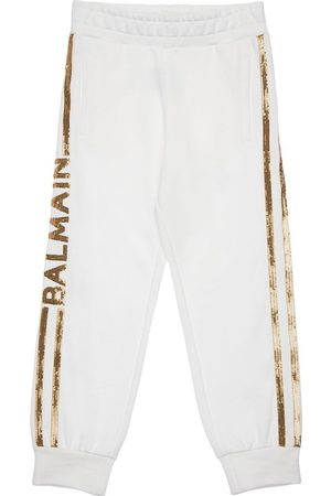 Balmain Meisjes Joggingbroeken - Sequined Cotton Sweatpants