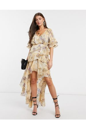 ASOS Tiered ruffle maxi dress in floral print with satin and rope trim inserts-Neutral