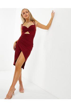 Club L Cut out slinky bodycon dress in red-Orange