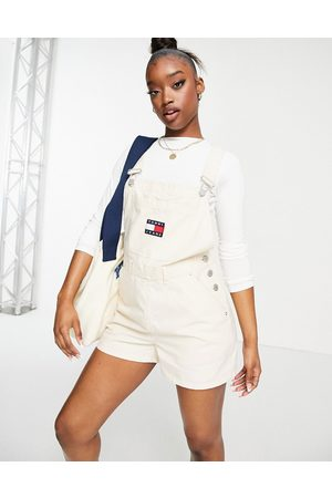 Tommy Hilfiger Logo dungaree shorts in white