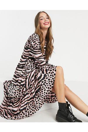 Liquorish A-line midi dress in pink leopard print