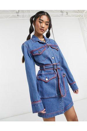 House of Holland Western denim mini dress in blue