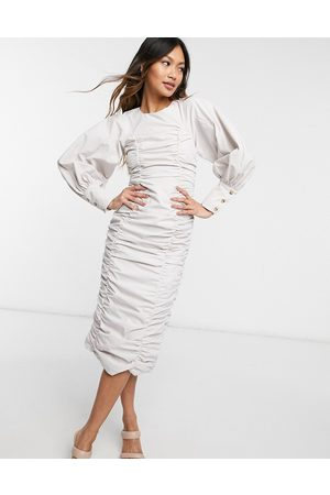 Ghospell Ruched puff sleeve midi dress in -Neutral