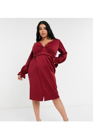 ASOS ASOS DESIGN Curve wrap plunge mini dress with flute sleeve in wine-Neutral