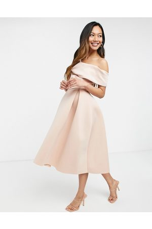 ASOS Fallen shoulder prom midi dress in rosedust-Pink
