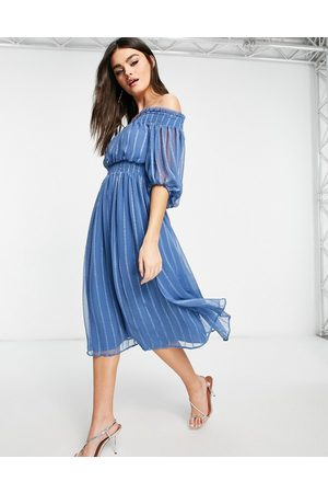 ASOS Off shoulder midi dress with blouson sleeve in self stripe-Multi