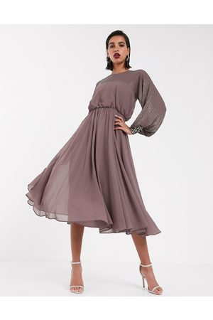 ASOS Midi dress with linear yoke embellishment in mauve-Multi