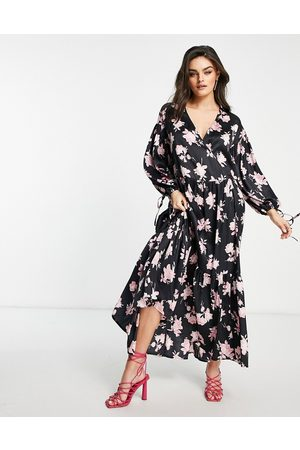 ASOS Satin wrap front smock maxi dress in pink rose floral-Multi