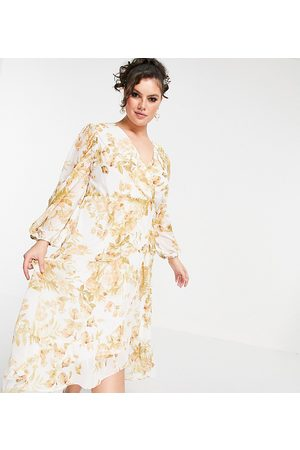 Forever New Wrap midi dress with ruffle hem in ivory and gold floral-White