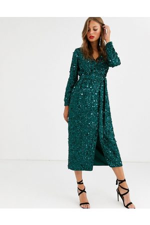 ASOS Wrap midi dress in disc sequin-Green