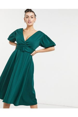 ASOS Plunge belted skater midi prom dress in forest green-Multi