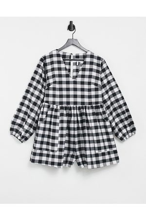 ASOS V front smock playsuit in mono gingham-Multi