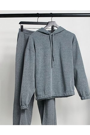 ASOS Hourglass acid wash tracksuit hoodie/ straight leg jogger in charcoal-Grey