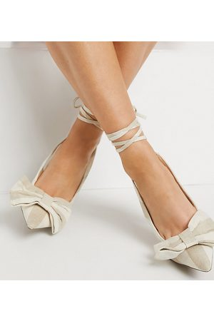 ASOS Wide Fit Peony tie leg bow high heeled shoes in natural-Neutral