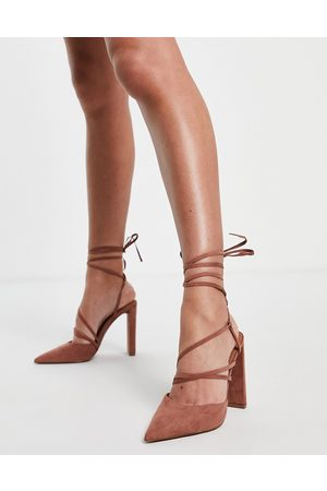 ASOS Paisley strappy tie leg high heeled shoes in mocha-Brown