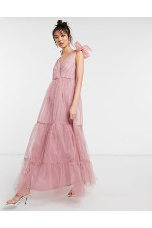 ASOS Tulle bow tie tiered maxi dress in rose-Pink