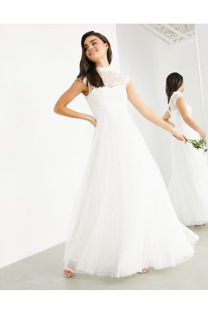 ASOS Bronte embroidered bodice wedding dress with cap sleeve-White
